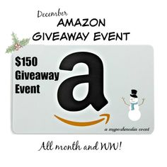 We're giving away $150 to AMAZON! Enter to win a chance at $150 dollars Amazon cash to help you recover from Christmas or use it to pamper yourself. If I won, I would use it to buy me a few items and then give the rest to my husband so that he can get something that he has been eyeing for several months. The cohosts and sponsors of this event...