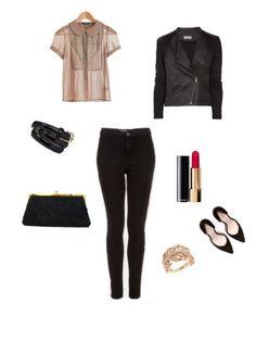 chic -- black jeans + heels + blouse