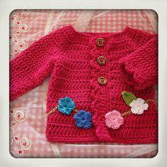 Pink cotton - flower - baby cardigan - crochet