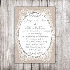 elegant burlap printed vintage floral wedding invitations EWI268 |