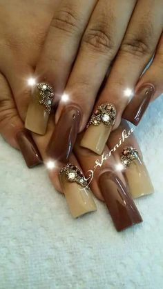 42 Trendy Ideas For Nails Design Fall Autumn Brown Great Nails, Fabulous Nails, Gorgeous Nails, Duck Flare Nails, Duck Feet Nails, Fan Nails, Cruise Nails, Nails Design With Rhinestones, Nailart