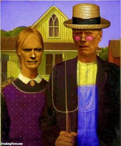 Clint Eastwood in American Gothic PaintingMore Pins Like This From FOSTERGINGER @ Pinterest
