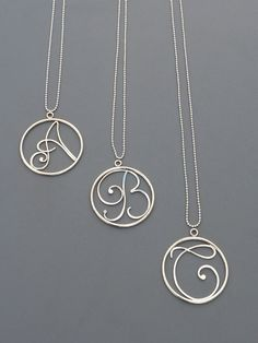 Large Initial Pendant sterling silver charm Rachel by rachelwilder, $58.00-- Darling!!