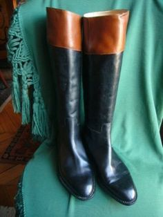 dtails sur bottes cavalires vintage cuir noir brun sans zip robert clergerie 39 12