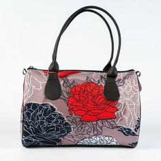 Grey Handbag with Black and Red Flowers Print, Fabric Barrel Bag for Ladies, Women Fashion Handbag, Bright Designer Printed Purse, 5089 by MyBrightBag on Etsy
