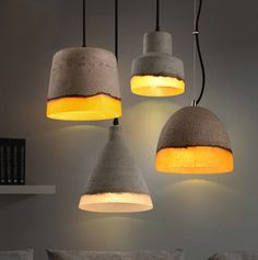 Loomier Mini Concrete Light Shade Wire Suspended 1-Light Pendant Light