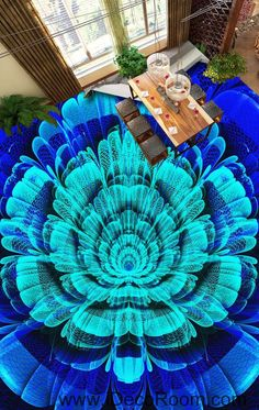 Blue Lotus Flower 00098 Floor Decals 3D Wallpaper Wall Mural Stickers Print Art Bathroom Decor Living Room Kitchen Waterproof Business Home Office Gift
