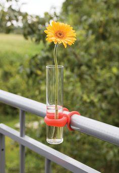 Esschert Design BL087 Balcony vase with silicone attachment loop for balcony railing.