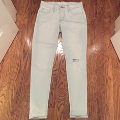 Levi Jeans Light wash skinny Levi jeans. Have. Small hole on the knee for style, and go down all the way to your ankles. Levi's Jeans Skinny