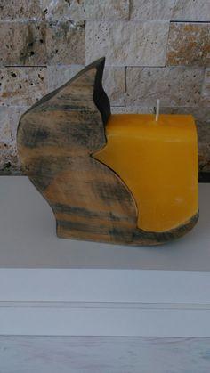 Kedili ahsap mumluk Wood Cat candle holder Izmir/Turkey