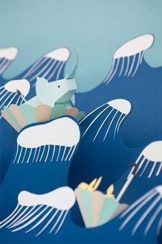 Paper Illustrations by Fideli Sundqvist Image Via: Anthology Magazine Adorable Paper Illustration, Graphic Design Illustration, Up Book, Book Art, Cardboard Crafts, Paper Crafts, Collages, Cardboard Sculpture, Image Paper