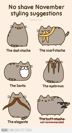 Funny pictures about Styling Suggestions For No Shave November. Oh, and cool pics about Styling Suggestions For No Shave November. Also, Styling Suggestions For No Shave November. Kawaii Pusheen, Gato Pusheen, Pusheen Love, Kawaii Cat, Pusheen Stuff, Pusheen Gifts, 4 Panel Life, Perfect Boyfriend, Fat Cats