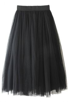 Voile Solid Color A-Line Skirt