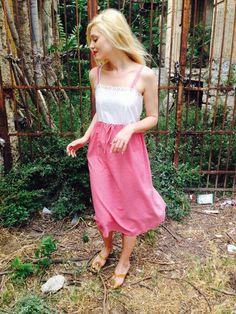 Vintage Red White Gingham Dress/Cotton Eyelet by LydiaLoveVtg