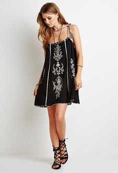 Floral-Embroidered Cami Dress | Forever 21 - 2000096577