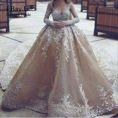 Top Customized Crystal Champange Arab Wedding Dresses 2017 Puffy Shining Stones Arabic Girl Ball Gown Wedding Gowns Mariage
