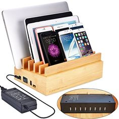Avantree 100W 10 Ports Fast USB CHARGER  Bamboo Multiple Devices Charging Station Stand QC 30 Type C for Smartphones and Tablets  PowerPlant * To view further for this item, visit the image link.