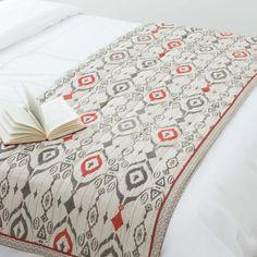 Couvre-lit en coton gris 130 x 180 cm IKAT