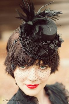 mini top hat with veil by lacocorouge photo raven shutley model marie mirror Halloween Hats, Halloween Ideas, Black Feathers, Fascinators, Make And Sell, Veil, Headbands, Mad, Winter Hats