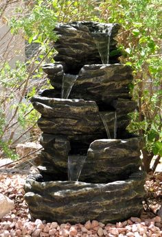 water fountains for the yard | enjoy watching the waterfall especially at night with the lights on it ...