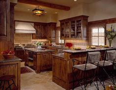 """Montana mix eclectic kitchen I like how the kitchen is """"boxed """" in.."""