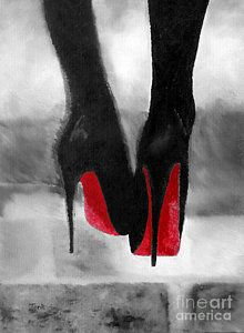 Abstract Painting - Louboutin At Midnight Black And White by Rebecca Jenkins
