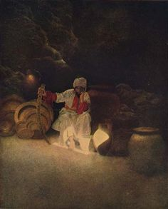 Maxfield Parrish - illustration for The Arabian Nights - 1909.  Cassim...was so alarmed at the danger he was in that the more he endeavoured to remember the word Sesame the more his memory was confounded.  1909