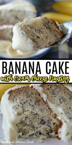 Banana Cake with Cream Cheese Frosting is super moist and delicious, easy and a favorite banana cake recipe made using ripe bananas. Moist Banana Cake Recipe, Banana Recipes Easy, Banana Bread Cake, Banana Dessert Recipes, Easy Banana Bread, Easy Cake Recipes, Frosting Recipes, Sweet Recipes, Baking Recipes