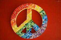 Rainbow Mosaic Peace Sign by GreenStreetMosaics on Etsy