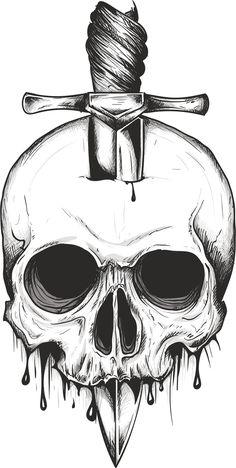 Skull Sword svg vector digital clipart t-shirt design Creepy Drawings, Dark Art Drawings, Pencil Art Drawings, Cool Drawings, Skull Drawings, Skull Sketch, Skull Tattoo Design, Skull Tattoos, Tattoo Designs