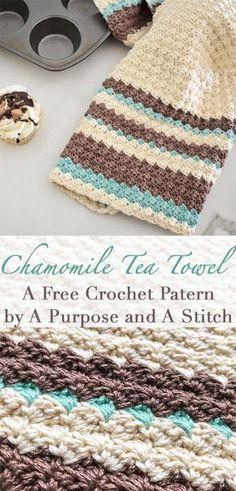 Crochet Stitches Chamomile Tea Towel- Free crochet pattern by A Purpose and A Stitch - The second pattern in our In The Kitchen series is here with this Chamomile Tea Towel. I hope you enjoy this free and fun-to make pattern! Crochet Dish Towels, Crochet Kitchen Towels, Crochet Potholders, Knitted Dishcloths, Crochet Afghans, Crochet Blankets, Crochet Gratis, Crochet Yarn, Crochet Stitches
