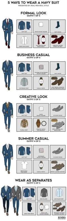 5 Outfits From One Navy Suit – Infographic 5 Ways To Wear A Navy Suit – Which is your favorite? The post 5 Outfits From One Navy Suit – Infographic appeared first on Best Ideas For Women. Costume Bleu Marine, Costume Marin, Mode Masculine, Men's Wardrobe, Mens Wardrobe Essentials, Men Style Tips, Suit And Tie, Gentleman Style, Dress Codes