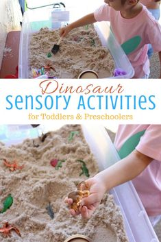 dinosaur activities for 2 year olds, dinosaur learning activity, dinosaur sensory bin,
