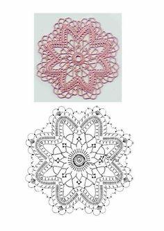 Motive 1 - rodica.adina Badiu - Álbumes web de Picasa Crochet Motif Patterns, Crochet Diagram, Crochet Chart, Thread Crochet, Crochet Stitches, Crochet Round, Crochet Squares, Crochet Home, Crochet Tablecloth