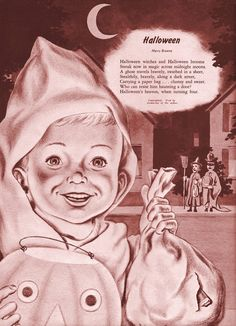 vintage Halloween children trick or treating poem