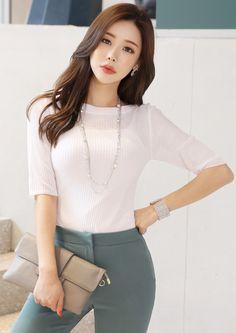 StyleOnme_Boat Neck Half Sleeve Knit Tee #dailywear #knit #tee #koreanfashion #kstyle #kfashion #springtrend #dailylook