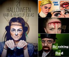 21 Easy Hair And Makeup Ideas For Halloween Halloween Hair, Creepy Halloween, Halloween Make Up, Holidays Halloween, Halloween Ideas, Halloween 2014, Halloween Cosplay, Halloween Party, Halloween Decorations