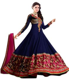 Buy Anjali Creation Blue Embriudered Georgette Semi Stitched Anarkali Suit Online India - 2774393