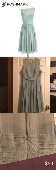 J.Crew Clara Dress in Silk Chiffon Beautiful dress in silk chiffon color Dusty Shale (Mint) worn once for my best friend's wedding. Some wear and tear, but it's been dry-cleaned and sitting in my closet for years. Has not been altered/hemmed in any way. J. Crew Dresses Wedding