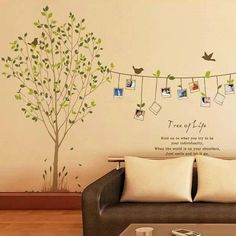 Tree of Life - This decal is almost the cutest thing you will ever see--your children in the photographs are the first. This Tree of Life decal stretches out a long photo banner for you to actually put your photos on, however you wish to do so. Not only could this liven up a room all by itself, but it can also be made unique with all of the memorable photos you take of your family. A perfect choice for a family room, or parents' bedroom!