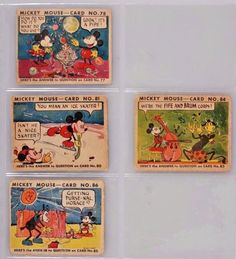 Rare 1930's Mickey Mouse Bubble Gum Cards,#78,81,84,86 FRONTS