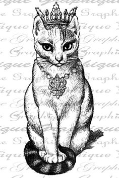 Purrfect Cat With Crown N Jewels Digital Image by Graphique