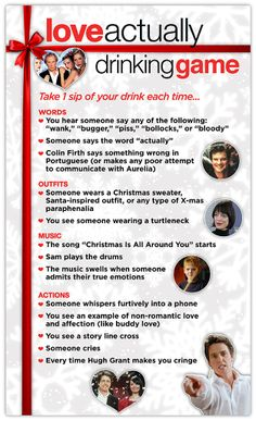 "We all know that ""Love Actually"" is one of the best holiday movies around, so why not make it a drinking game?"