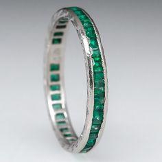 Vintage+Emerald+Eternity+Wedding+Band+Ring+Solid+18K+White+Gold