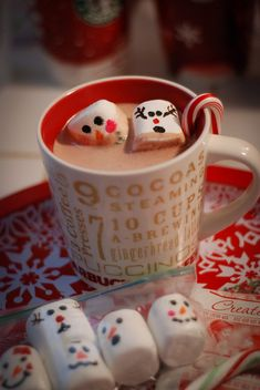 "How fun! Draw faces on marshmallows with an edible food marker (found in the cake decorating aisle in your craft store) and plop them into a mug of hot chocolate! Could make a fun gift: place in a jar and tie the jar with a bow...add a fun caption on the gift tag! :) With the caption ""For the days you feel like biting off someome's head!""."