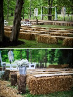 hay bales and boards as seating for backyard wedding ceremony #countrywedding #rusticwedding #wedddingchicks http://www.weddingchicks.com/2013/12/23/country-chic-wedding-2/