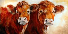 Cow Art On Canvas | cow cow is an original oil painting by m baldwin c2006 two cows canvas ...