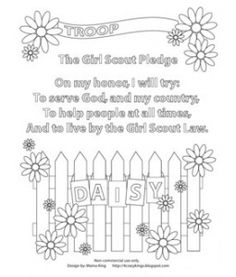 Girl Scout Pledge Coloring Page good for girls to do last few