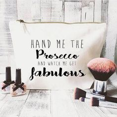Prosecco makeup bag Cosmetic bag Unique by JustBeBohoCollective