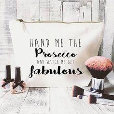 Prosecco makeup bag Cosmetic bag Unique by JustBeBohoCollective